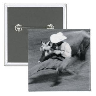 Blurred shot of cowboy wrestling steer 15 cm square badge