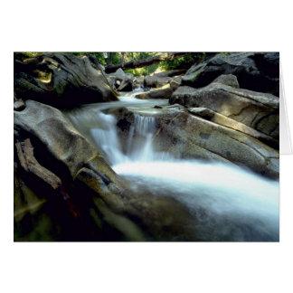 Blurred water over rocks, Denny Creek, Washington Greeting Cards