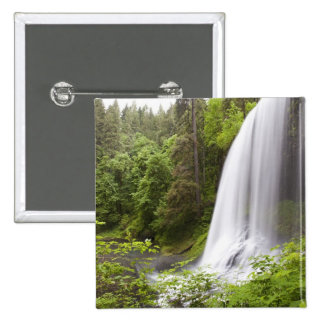 Blurred Waterfall and Forest View in Oregon 15 Cm Square Badge