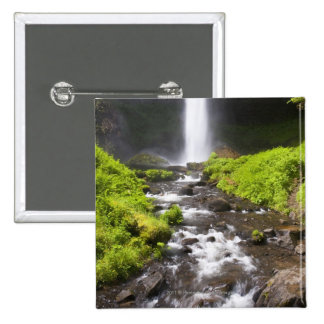 Blurred Waterfall and River 15 Cm Square Badge