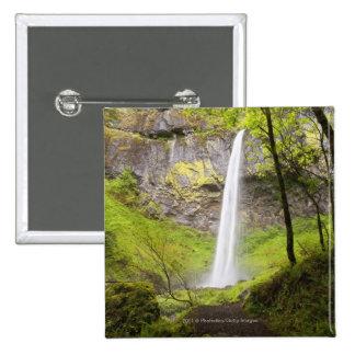 Blurred Waterfall around lush Greenery in Oregon 15 Cm Square Badge