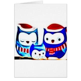 blurred winter owls greeting card