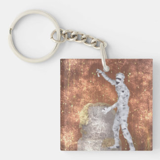blurred zombie square acrylic key chain