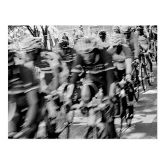 Blurry Black and White Bikers Postcard