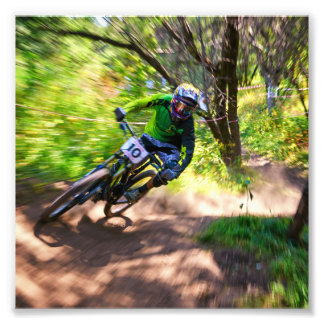 Blurry Forest Dirtbike Racer Photo Print