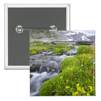Blurry River with Yellow White Pink Wildflowers 15 Cm Square Badge