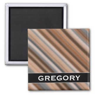Blurry Rustic Inspired Stripes Pattern + Name Magnet
