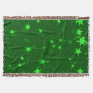 Blurry Stars green Throw Blanket