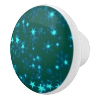Blurry Stars teal Ceramic Knob