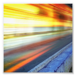 Blurry Train Lights at Night Photo Print