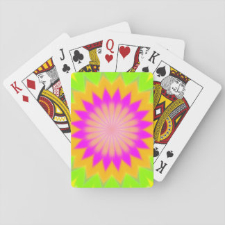 Blurry Vibrant Bursting Flower-Like Pattern Playing Cards