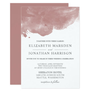 Blush Abstract Watercolor Modern Wedding Card