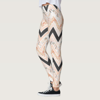 Blush and Black chevron print leggings