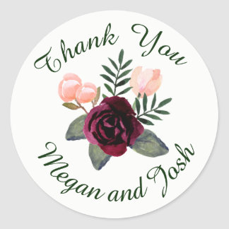 Blush and Burgundy Thank You Sticker