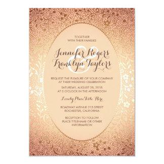 Blush and Gold - Elegant Floral Vintage Wedding Card