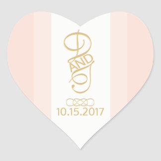 Blush and Gold Heart Stickers