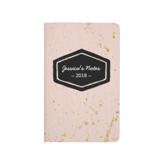 Blush and gold splat personalized journal notebook