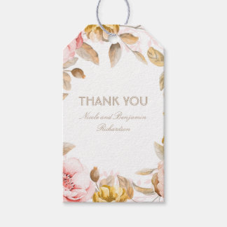 Blush and Gold Watercolor Flowers Elegant Boho Gift Tags
