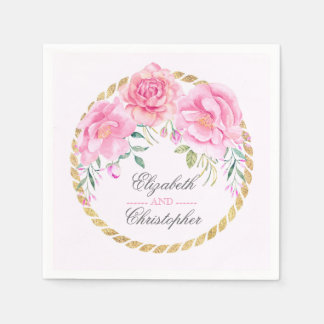 Blush and Gold Watercolor Flowers Wedding Paper Serviettes