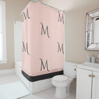 Blush and Grey Monogrammed Shower Curtain