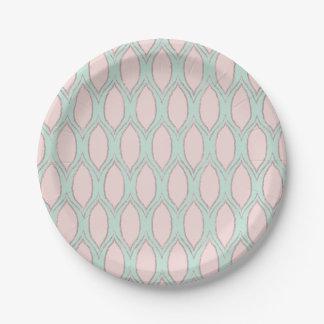 Blush and Mint Modern Geometric Pattern Paper Plate