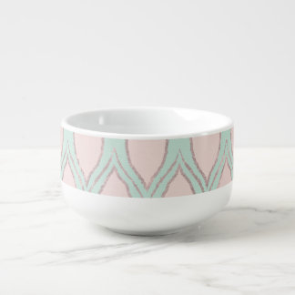 Blush and Mint Modern Geometric Pattern Soup Mug