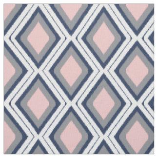 Blush and Navy Diamond Ikat Pattern Fabric
