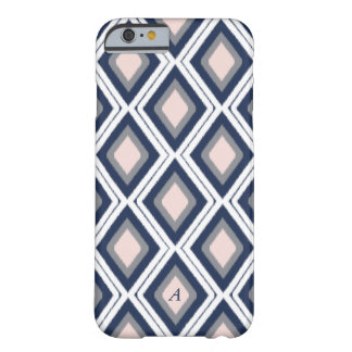 Blush and Navy Diamond Ikat Pattern Monogram Barely There iPhone 6 Case