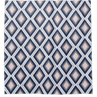 Blush and Navy Diamond Ikat Pattern Shower Curtain