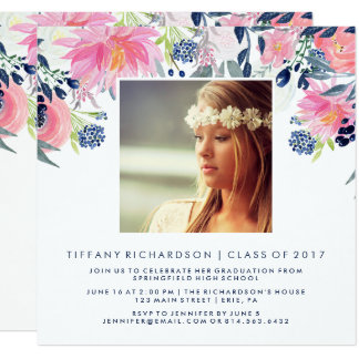 Blush and Navy Floral | Photo Graduation Party Card