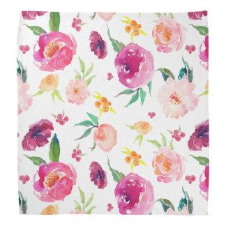 Blush and Pink Watercolor Peonies Pattern Bandana