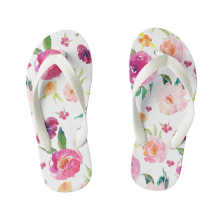 Blush and Pink Watercolor Peonies Pattern Kid's Thongs