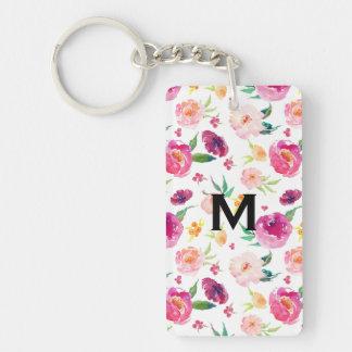 Blush and Pink Watercolor Peonies Pattern Monogram Key Ring