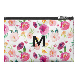 Blush and Pink Watercolor Peonies Pattern Monogram Travel Accessory Bag