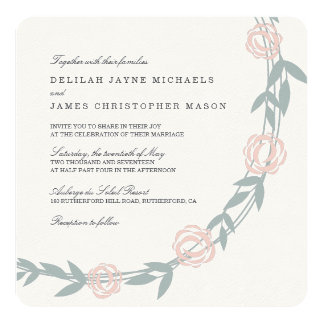 Blush and Sage Botanical Floral Wedding Card