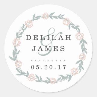 Blush and Sage Botanical Floral Wedding Classic Round Sticker