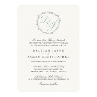 Blush and Sage Monogram Wreath Wedding Invitation