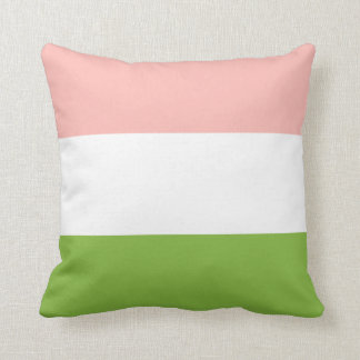 Blush and Spring Green Striped Pillow