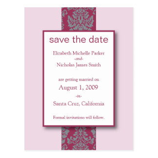 Blush Baroque Damask Save the Date Postcard