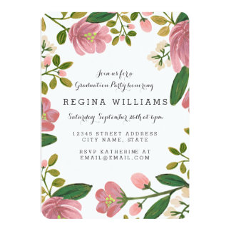 Blush Bouquet Grad Party Card