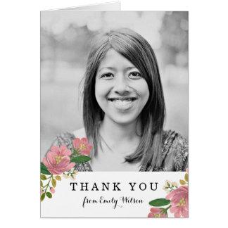 Blush Bouquet Photo Thank You Card