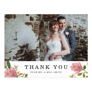 Blush Bouquet Wedding Thank You Postcard