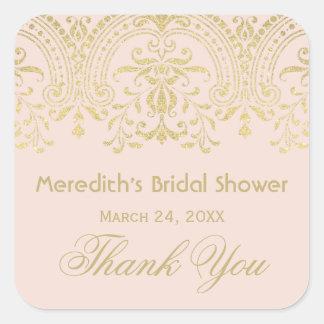 Blush Bridal Shower Sticker | Gold Vintage Glamour