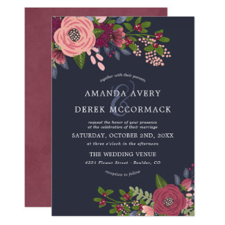 Blush & Burgundy - Dark Blue Wedding Invitation