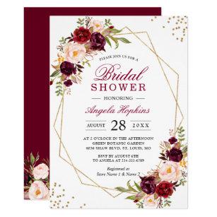 Bridal shower invitations zazzle blush burgundy floral gold frame bridal shower invitation filmwisefo