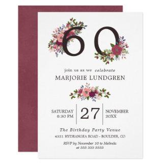 Blush & Burgundy Flowers Birthday Party Card