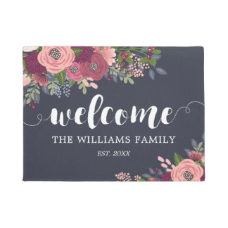 Blush & Burgundy Flowers  - Family Name - Welcome Doormat