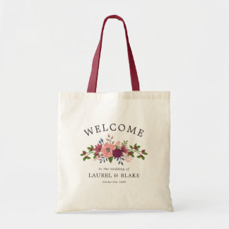 Blush & Burgundy Flowers Wedding Welcome Tote Bag