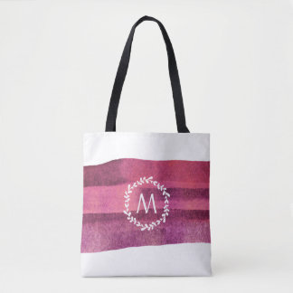 Blush & Burgundy Watercolor Leaf Wreath Monogram Tote Bag