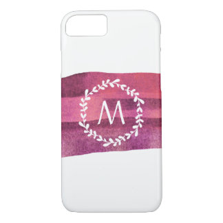Blush & Burgundy Watercolor Monogram iPhone 8/7 Case
